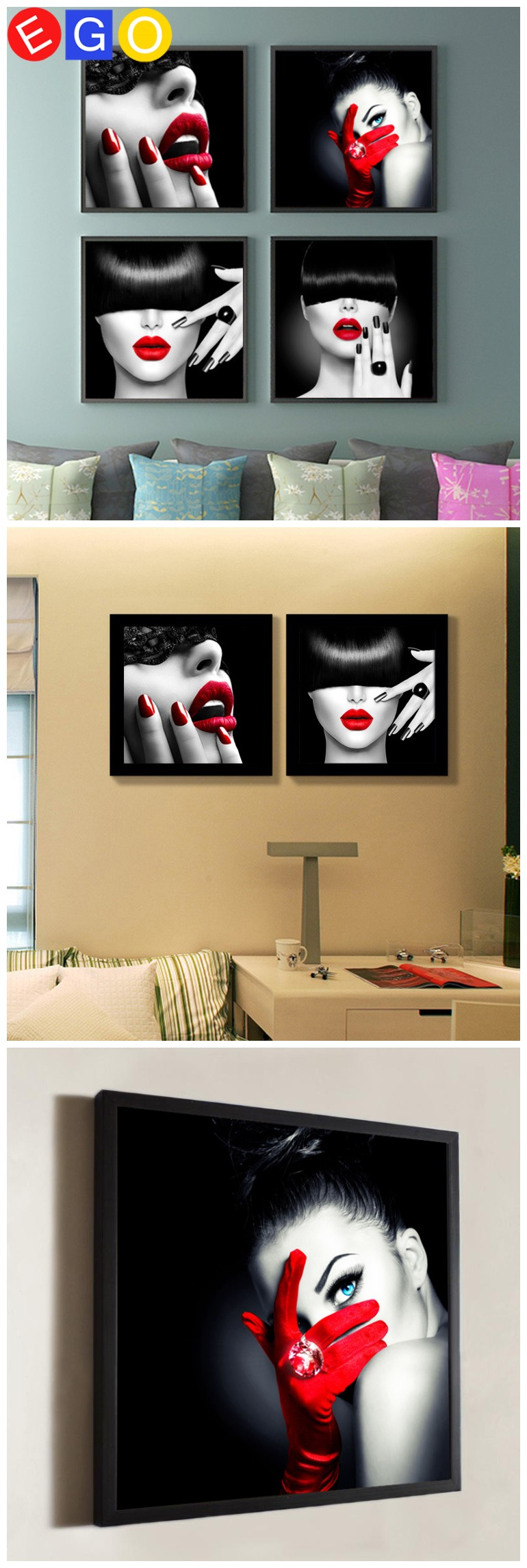New Lips Sexy Beauty Bar Barber Shop Poster Toilet Bathroom Decoration Oil  Paintings Art Canvas Painting