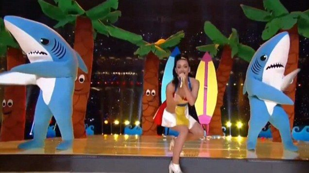 Katy Perry's 'supporting shark dancer' goes viral after Super Bowl performance | Daily Mail Online