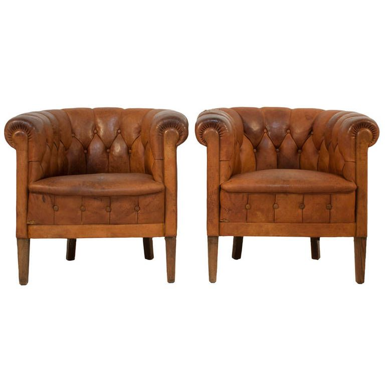 Pair Of Tufted Leather Club Chairs From A Unique Collection Antique And Modern