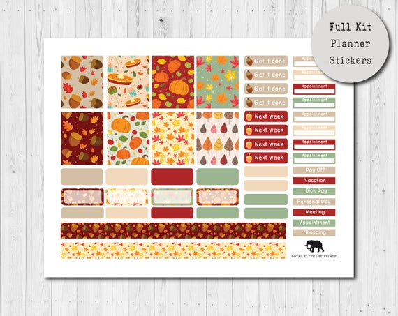 Autumn Planner Stickers//Erin Condren Stickers Seasons