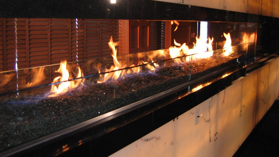 Fireplace Design linear fireplace gas : Custom Isokern Fireplace at the III Forks Restaurant in ...