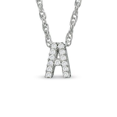 Zales Diamond Accent Initial Charm Pendant in Sterling Silver (1 Initial) AzFIXVHG