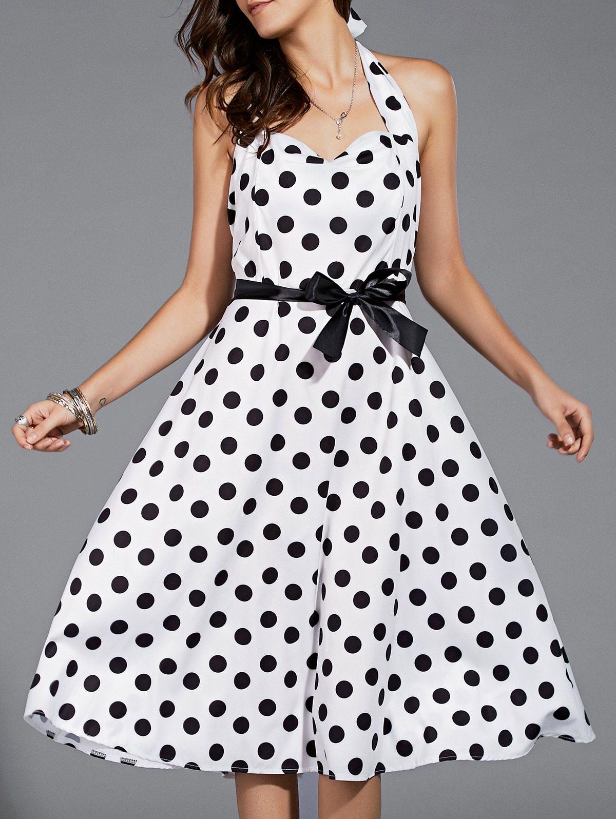 Vintage Style Halter Black and White Polka Dot Midi Dress For Women #Black_and_White #Polka_Dots #Dress #Fashion
