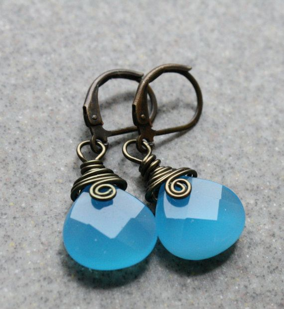 SALE Blue Chacedony GemstoneWire Wrapped by CasualDesignsbyJBS, $18.99