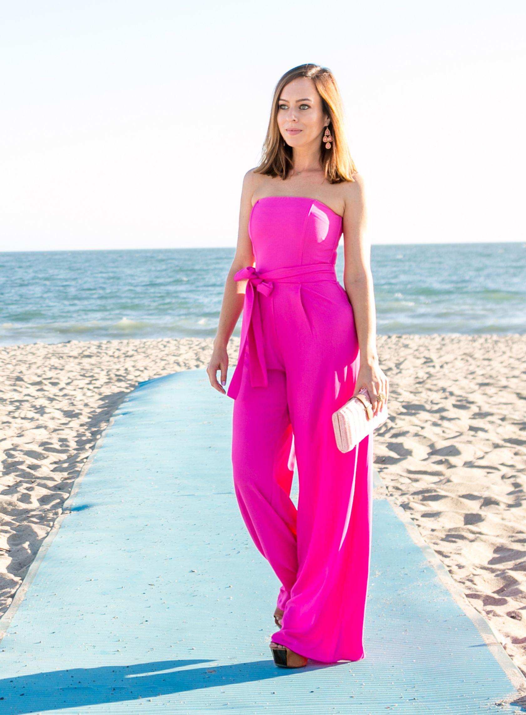Los Angeles Fashion Blogger Sydne Summer Styles Hot Pink Beach Chic For Weddings Shop Online Guest Attire Beach Wedding Guest Dress Wedding Outfits For Women [ 2284 x 1680 Pixel ]