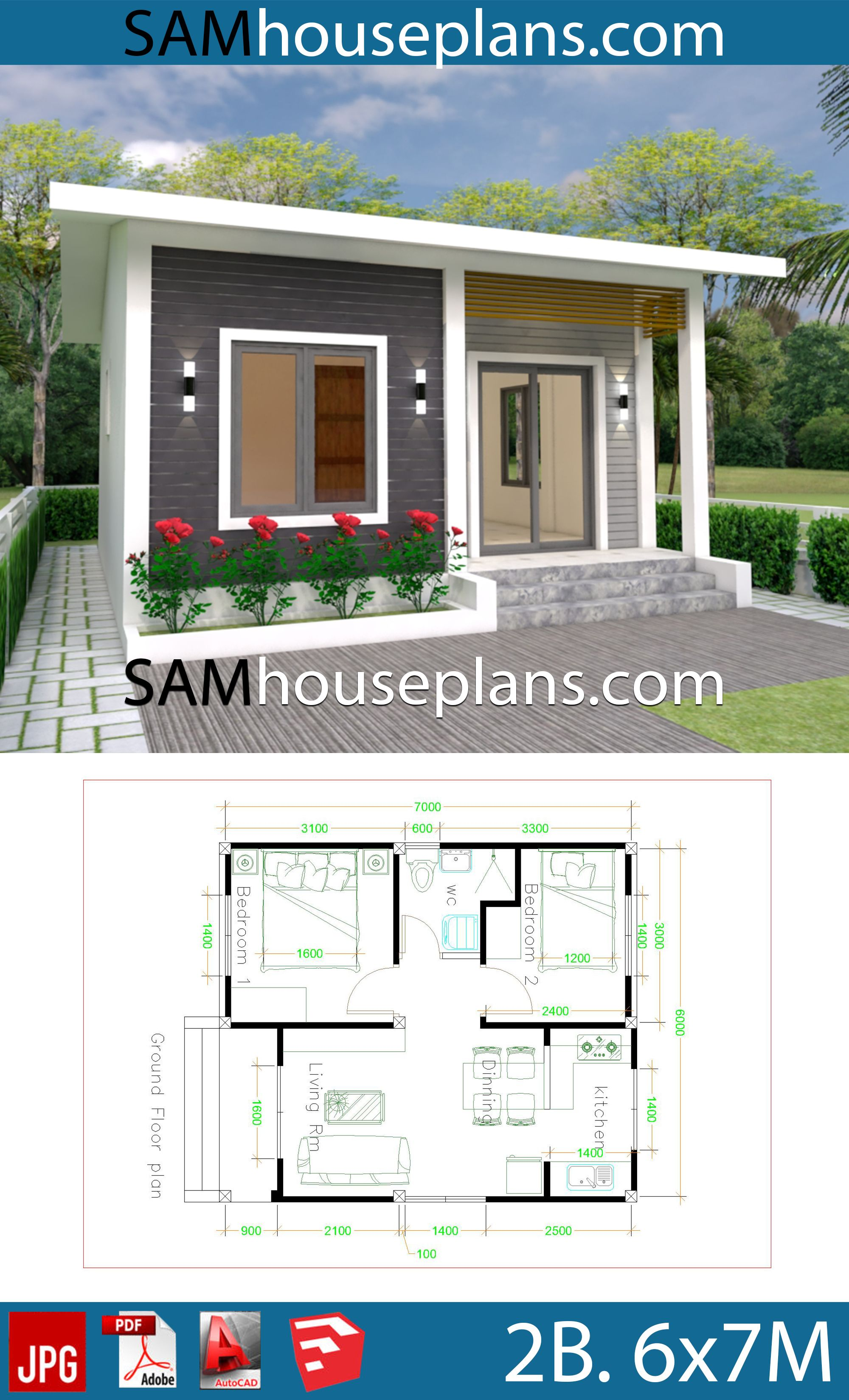House Plans 6x7m With 2 Bedrooms House Plans Free Downloads Simple House Design House Design Bedroom House Plans
