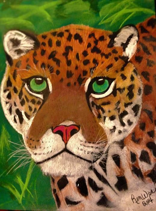 Jaguar in the Jungle, by Renee Michelle Wenker Soft Pastels and Premium Colored Pencils 11 x 14