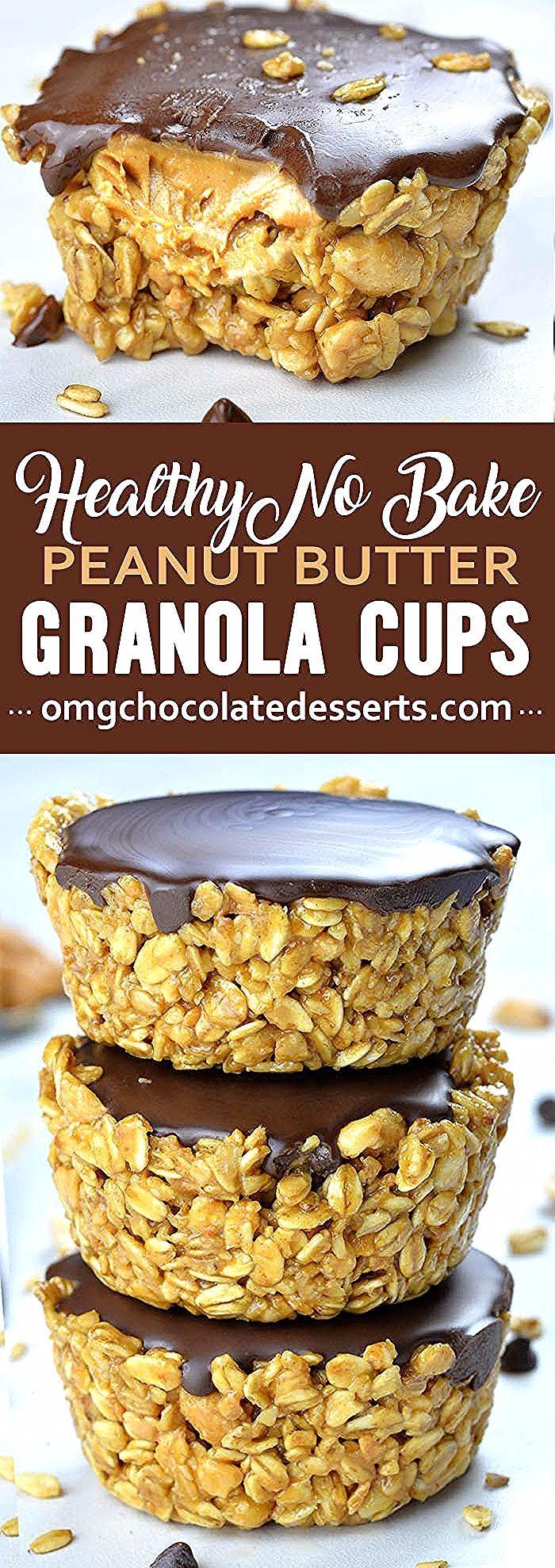 Benötigen Sie einen schnellen und gesunden Snack No Bake Peanut Butter Müslitassen sind einfach und