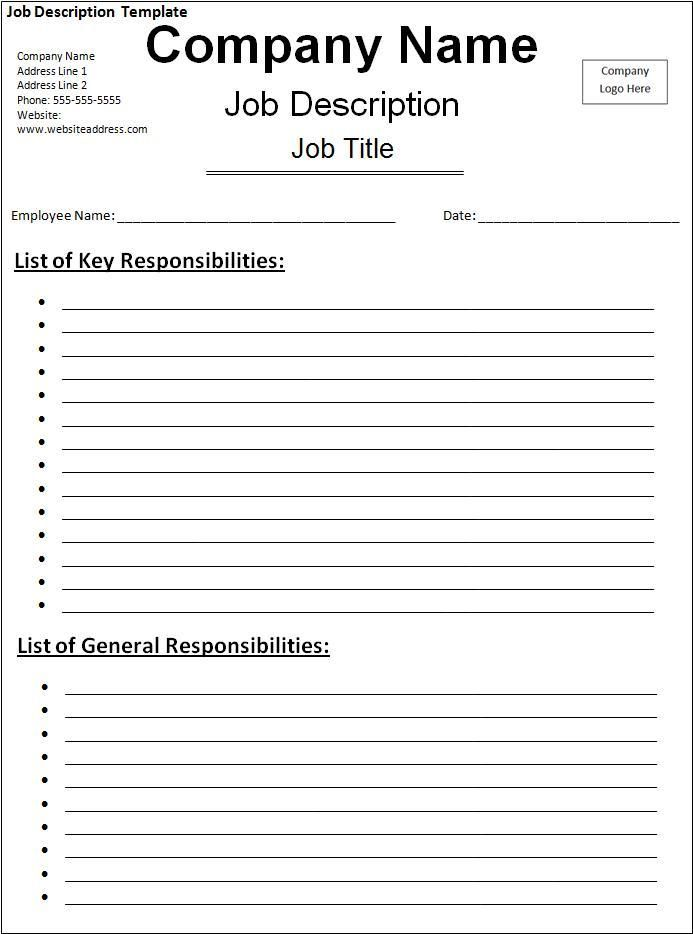 Job Description Template My likes Pinterest Job description