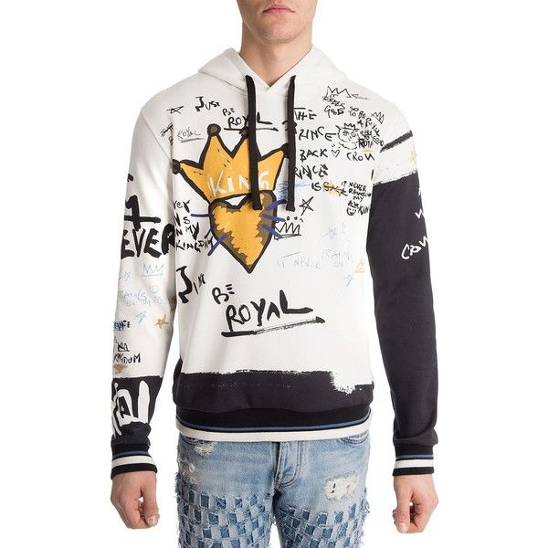 Dolce & Gabbana Must Be Royal Printed Cotton Hoodie (12,430 MXN) ❤ liked on