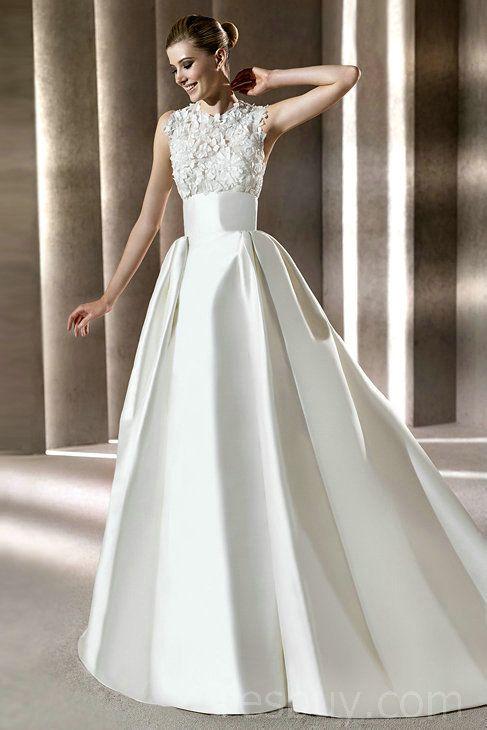 Halter Full Neckline A Line Natural Waist White Vintage Wedding ...