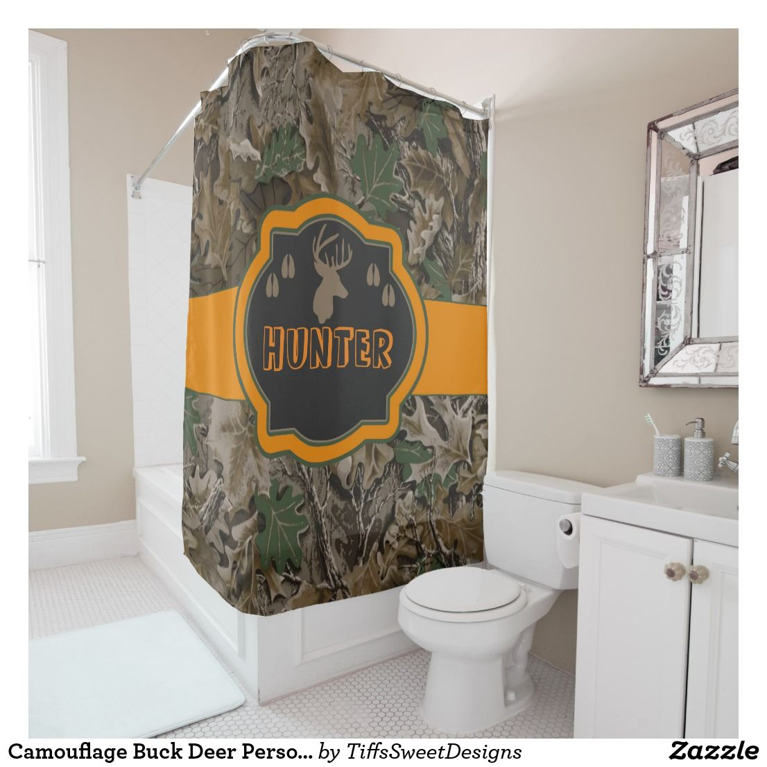 Camouflage Buck Deer Personalized Shower Curtain
