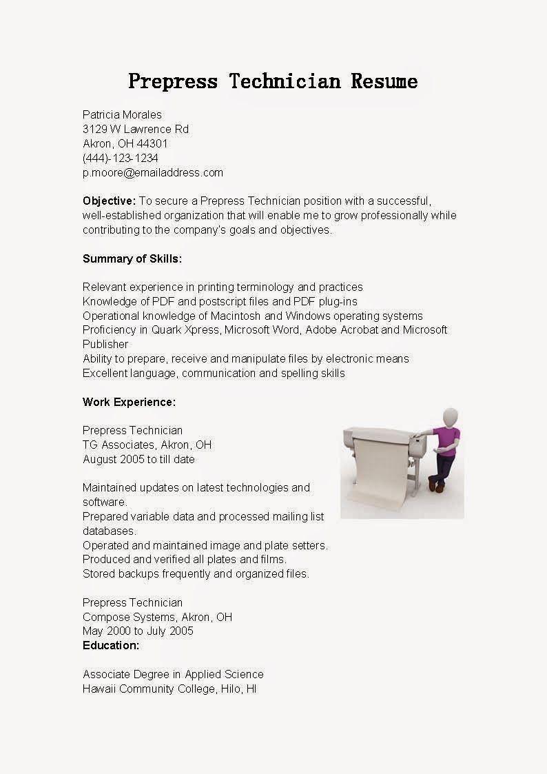 Prepress Technician Resume Sample - http://www.resumecareer.info ...