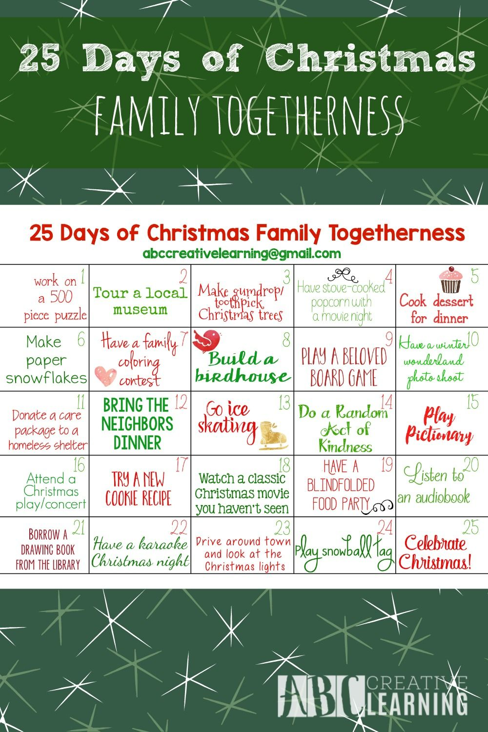 25 Days Of Christmas Family Togetherness Activity Calendar 25 Days Of Christmas Family Christmas Christmas Planning