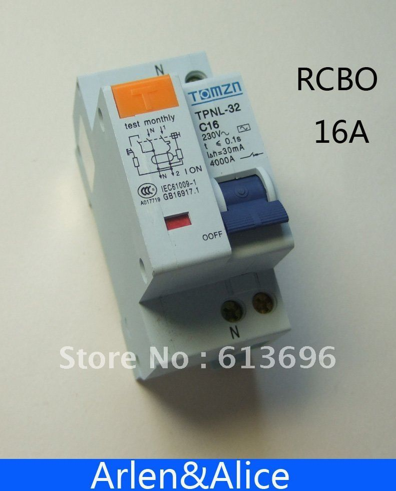 RCBO DPNL 1P+N 16A 230V~ 30mA C16 RCBO with over current and Leakage protection
