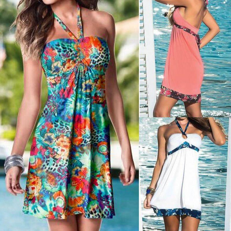 dfd00a18165 Summer Women Boho Long Evening Party Cocktail Ladies Casual Beach Dress  Sundress