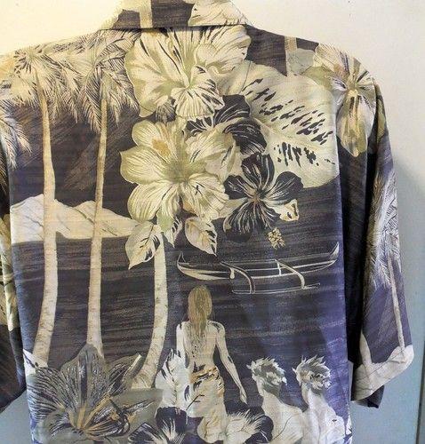 Tommy Bahama Silk Men's Shirt XL Tahitian Girl Surf Grey, Greens Palms Hawaii  www.ladylindasloft.com