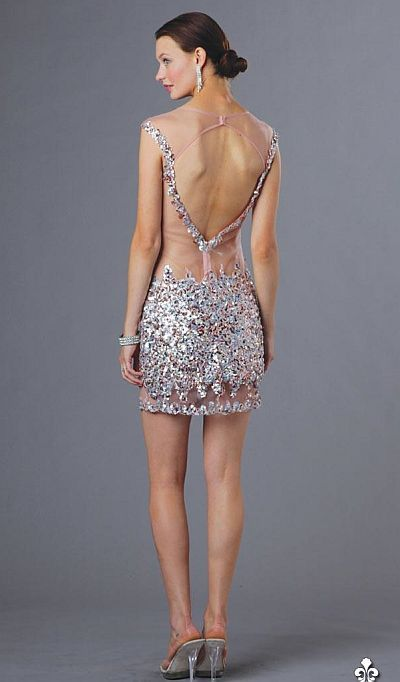 Alternate view of the Alyce 4374 Cap Sleeve Sexy Sheer Beaded ...