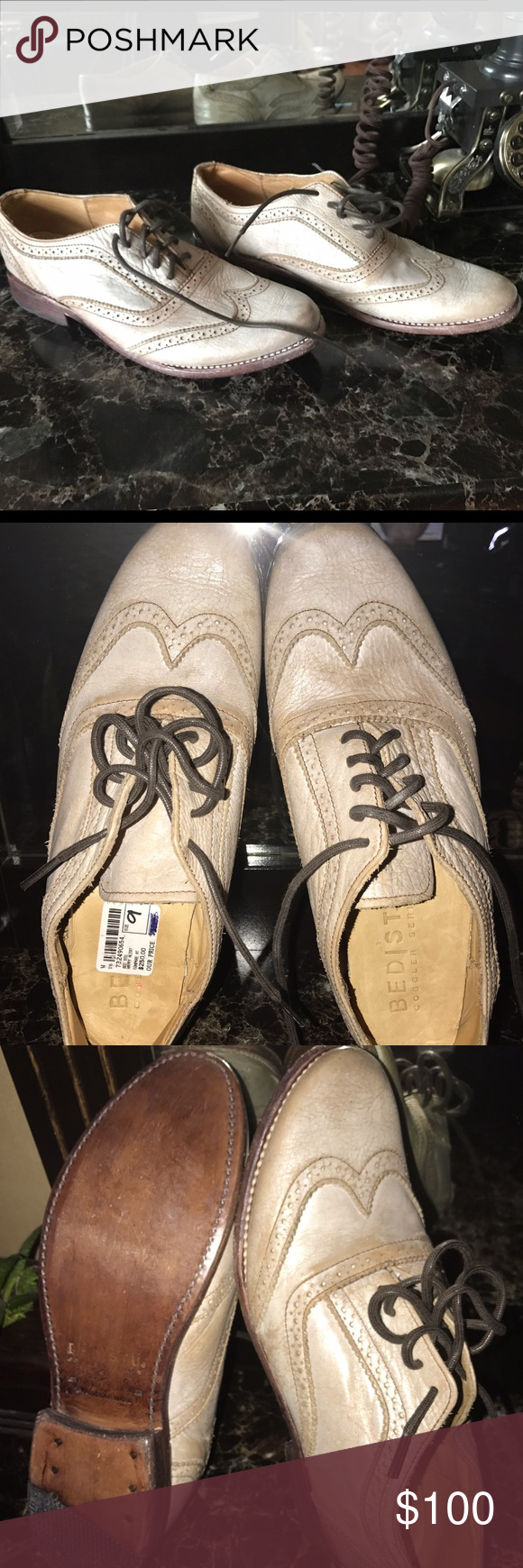 NEW Bed Stu Men's Oxford Distressed Shoes Brand NEW never worn; bought as a gift for my husband.  He wears size 8.5-9.  This pair is labeled size 9, BUT it runs really Small!!!  I think best fit would be size 7.5-8.  Im listing it as size 8.  This is ABSOLUTELY Awesome Stylish pair of shoes!  HAND MAID, the BEST quality shoes!  My loss is your gain! Bed Stu Shoes
