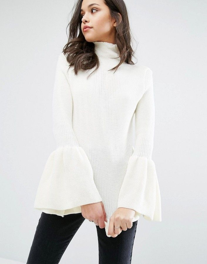 Boohoo Funnel Neck Wide Sleeve Sweater