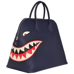 0134cef5e0 Hermes Limited Edition Shark Bolide 45 Handbag Bleu INDIGO UNISEX NEW