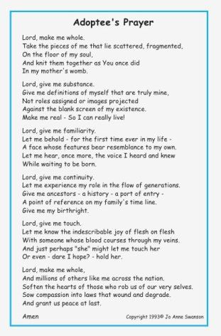Adoptee Prayer As Much As I Love My Adopted Family I Cannot