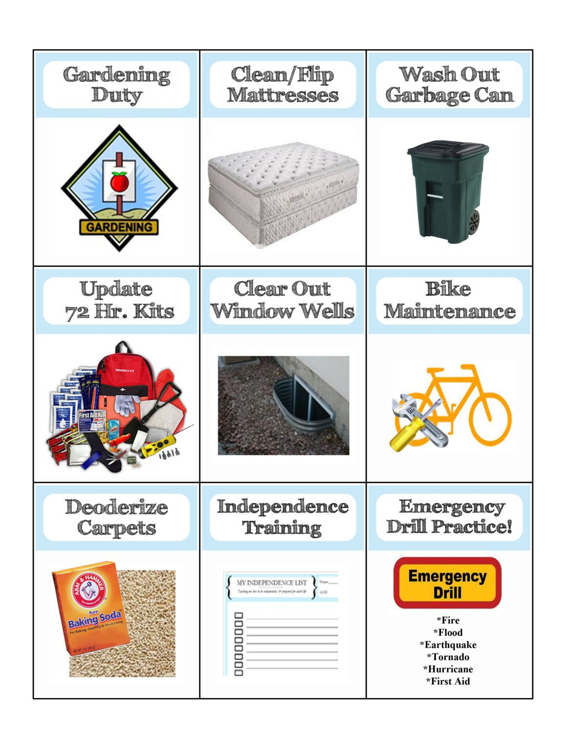 Chore Cards 26 Pages Of Detailed Picture By