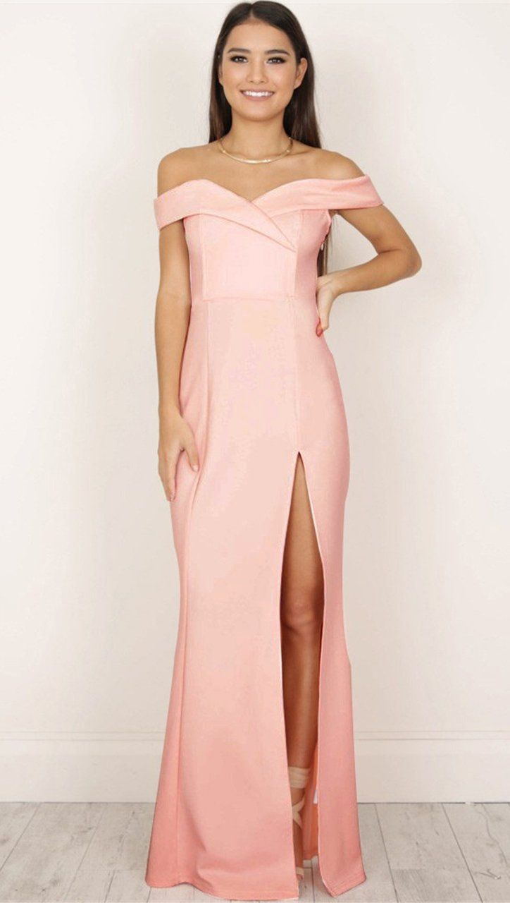 f3771f68ba26 The Anastacia off shoulder sweetheart neck maxi dress is a classic cut gown  with a fitted silhouette and empire waist with a high leg slit.