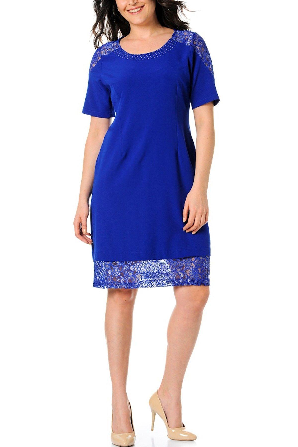 Buyuk Beden Saks Elbise 65n2356 Elbise Giyim Trendler
