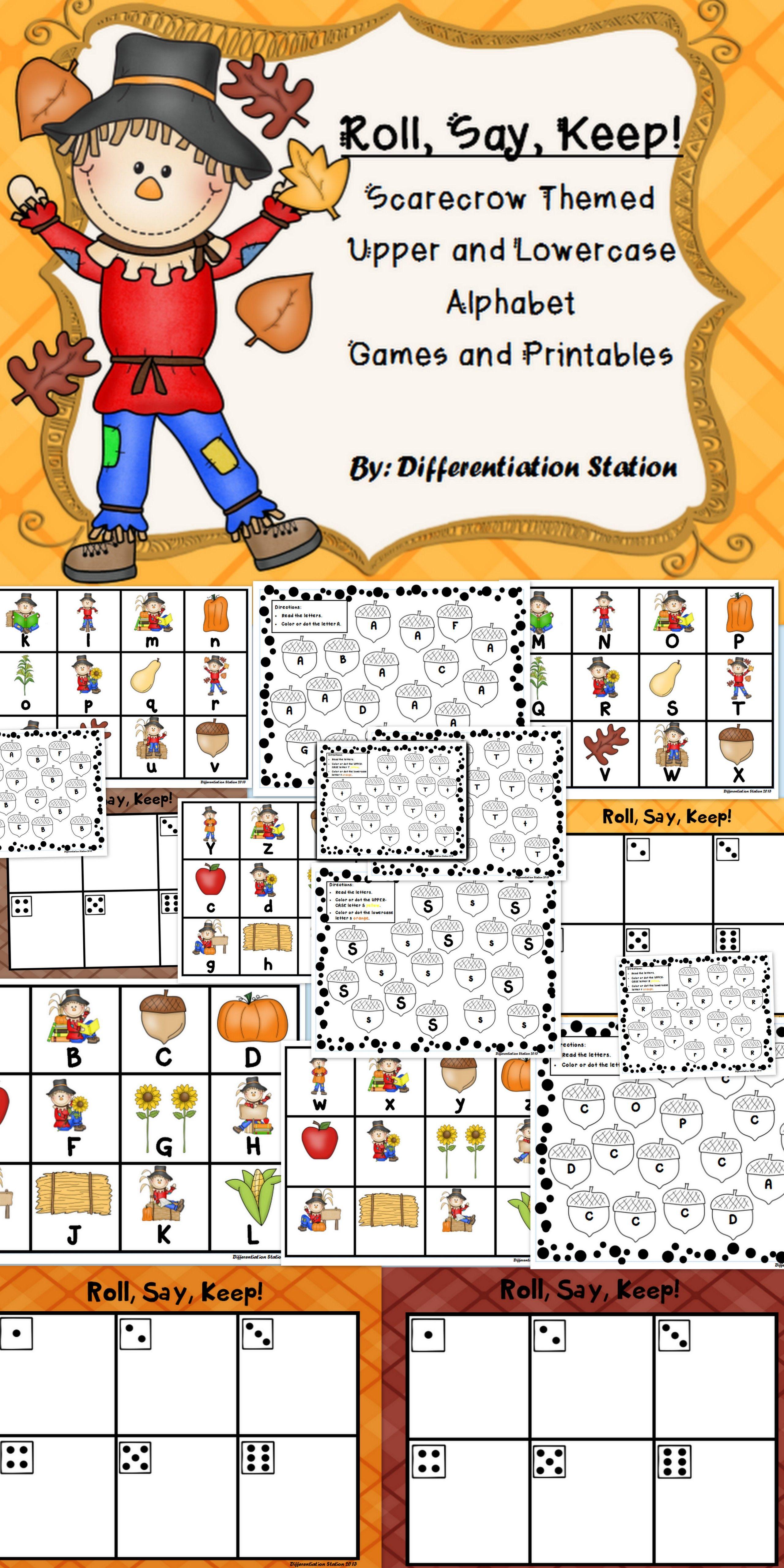 Scarecrow Fall Themed Roll Say Keep Alphabet Center