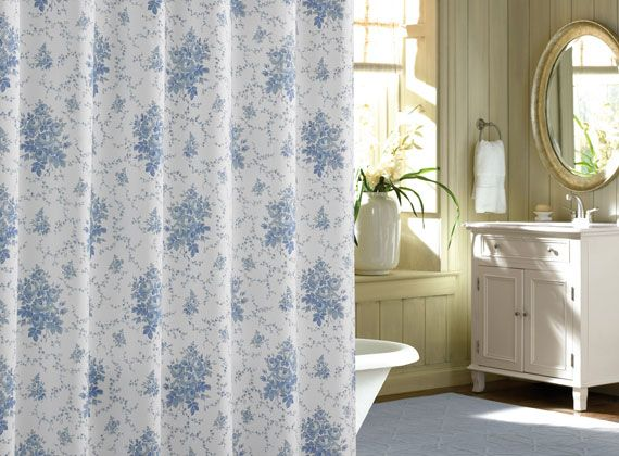 Laura Ashley Sophia Fabric Shower Curtain Blue And Whit