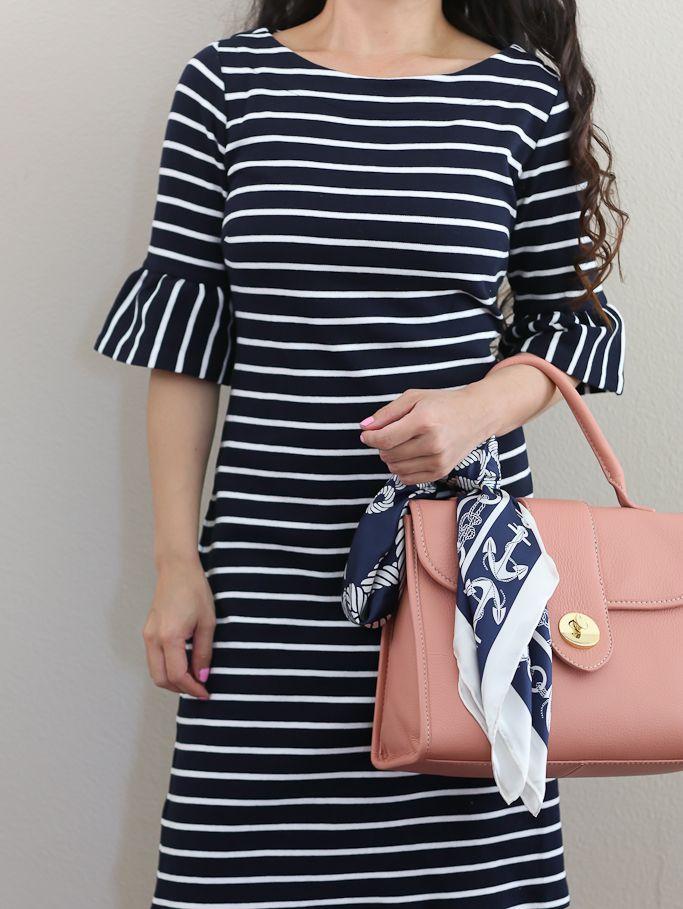 ec5e77a1a144 striped flounce sleeve shift dress
