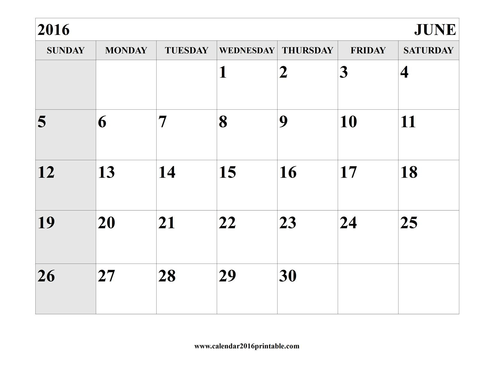 june 2016 calendar printable template free to download and print
