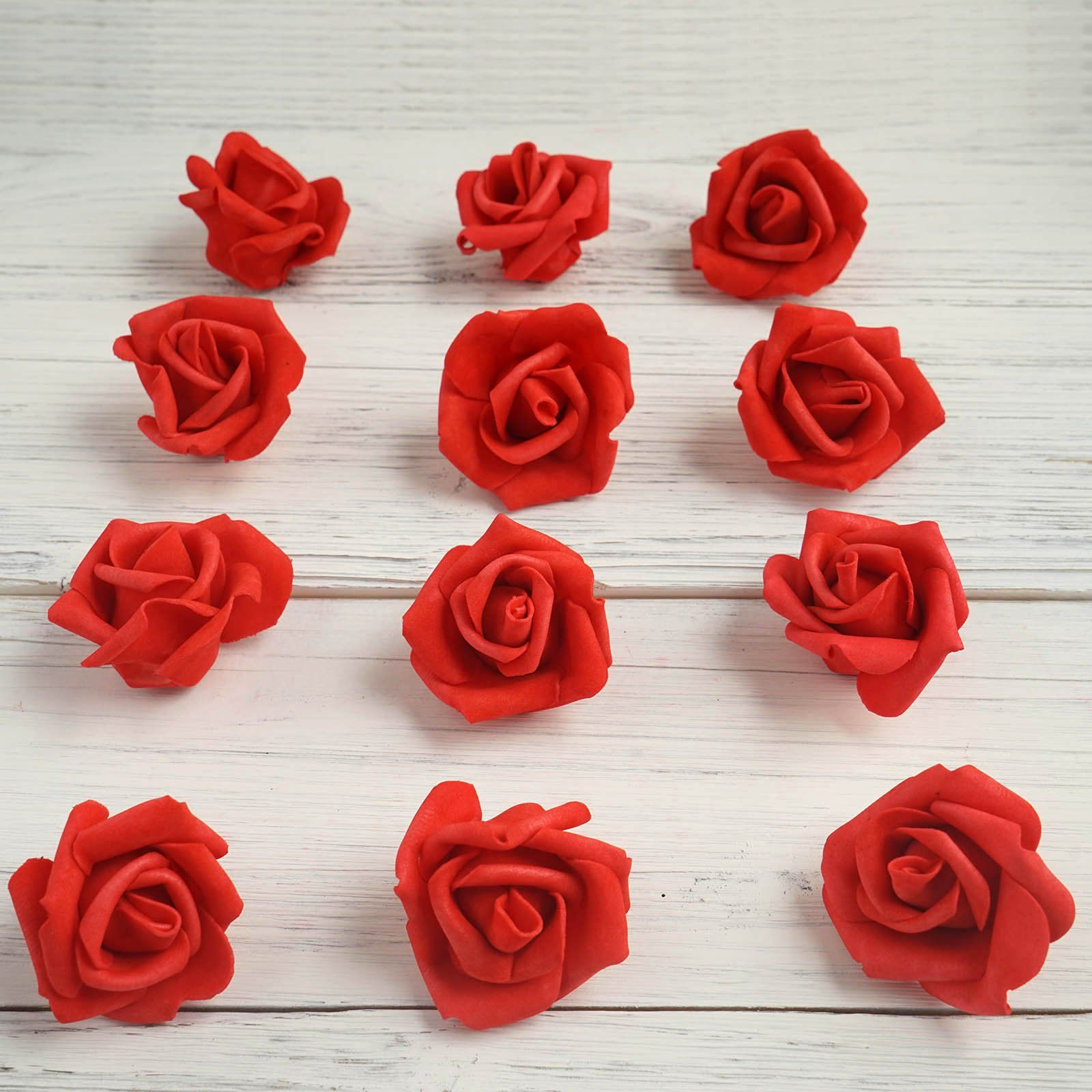 12 Pcs 2 Red Real Touch 3d Artificial Diy Foam Rose Flower Head Foam Roses Flowers Making A Bouquet