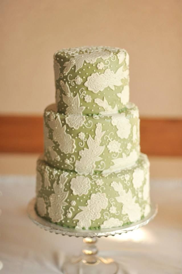 Our wedding cake-Sage green fondant with lace appliqués. | Happily ...