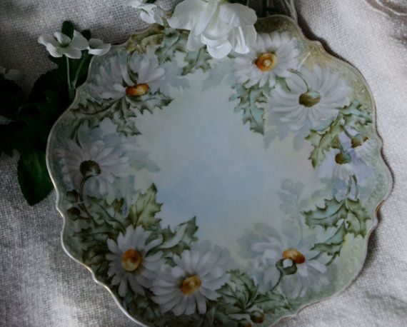 Vintage Carl Tielsch C.T Atwasser Plate, Daisy Plate, Floral China Dish, Collectible Wall Hanging, Signed Vintage Plate on Etsy, $20.00