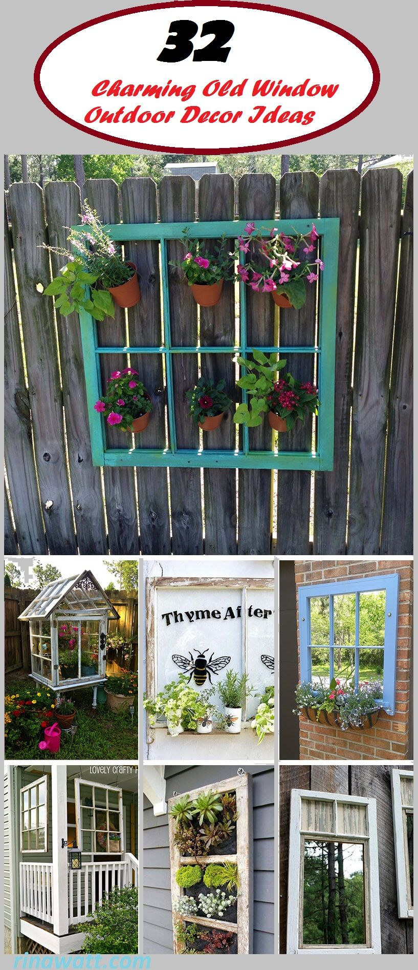 32 Charming Old Window Outdoor Decor Ideas To Accent Your Space 1 Window Frame For Hanging Plant Outdoor Window Decor Window Frame Decor Hanging Plants Diy