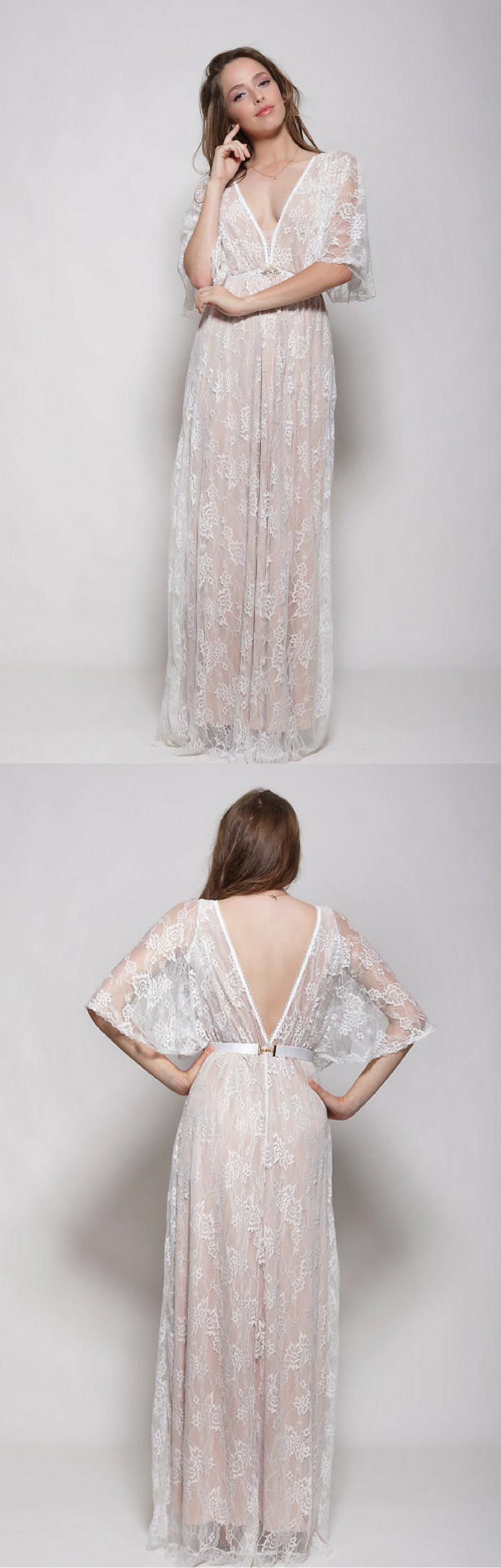 Lace wedding dress low back  Gorgeous bohemian lace wedding dress I love wedding lace dress