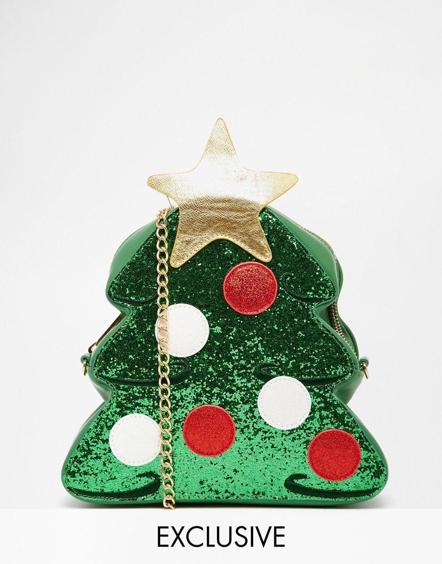 image 1 of skinnydip exclusive christmas tree cross body bag - Christmas Tree Bags