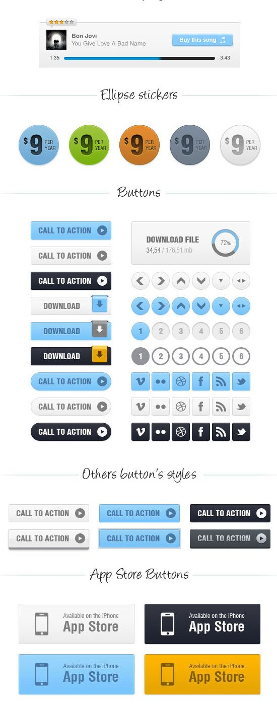 Free GUI   UI   UX PSD kits and web elements for download User - fresh blueprint 3 free download