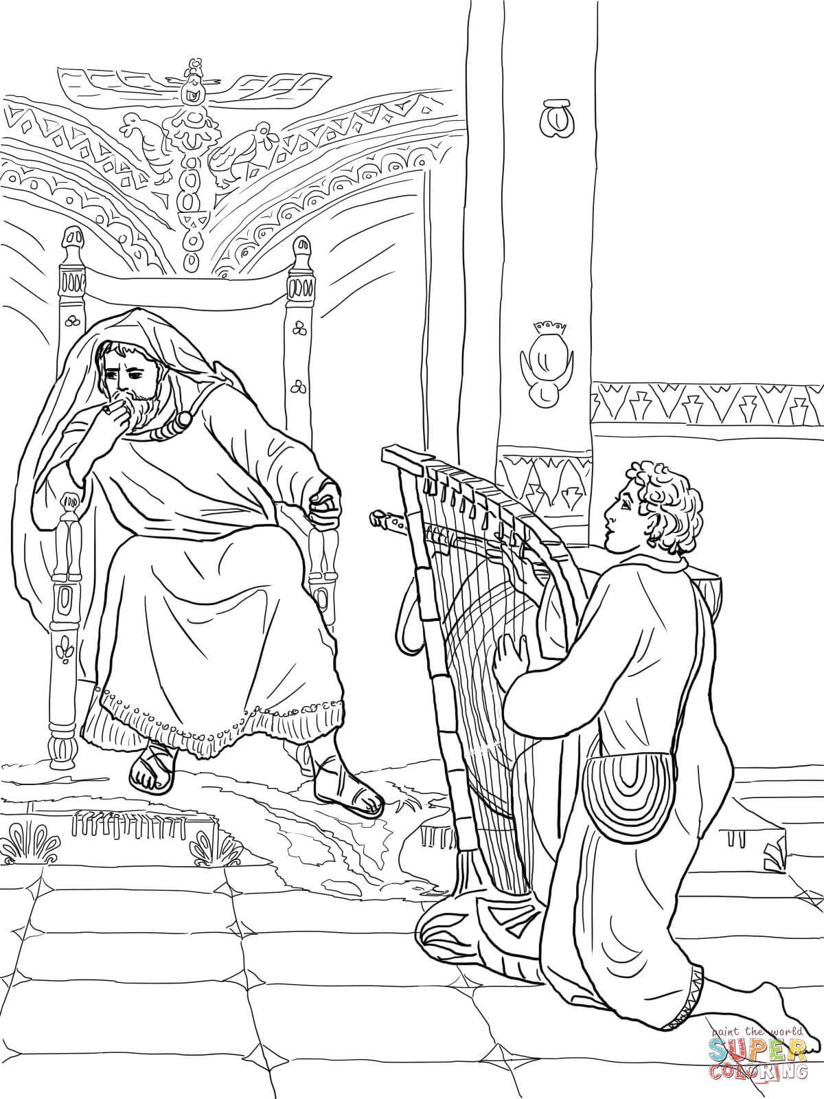David Plays The Harp For Saul Coloring Page From King David