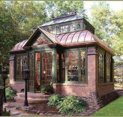 Greenhouse With Copper Roof Small House Architecture Guest Cottage