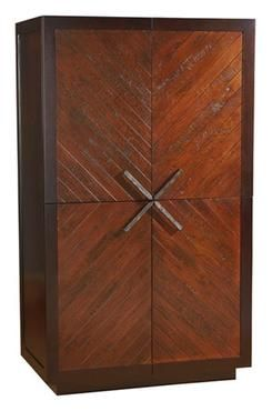 Chevron Cabinet With Rustic Walnut Doors And Cross Angled Handles