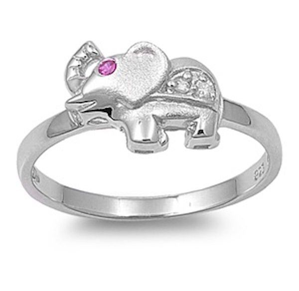 Cute Elephant Ring Round 0.20 Carat Red Ruby Solid 925