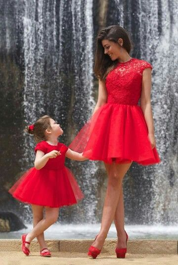 Mommy and my red shoes match our red dresses.