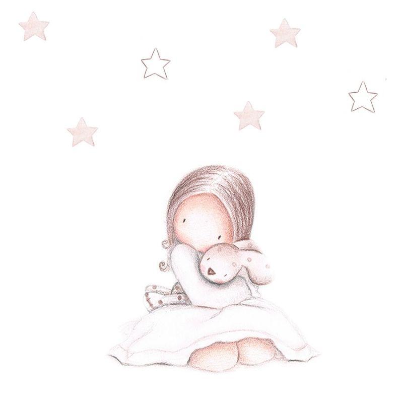 Vinilo infantil personalizado ni a en pijama ii - Habitacion de bebe nina ...