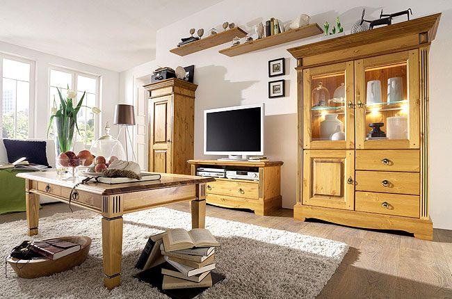 landhausstil wohnzimmer kiefer mobel massiv oberflache lackiert