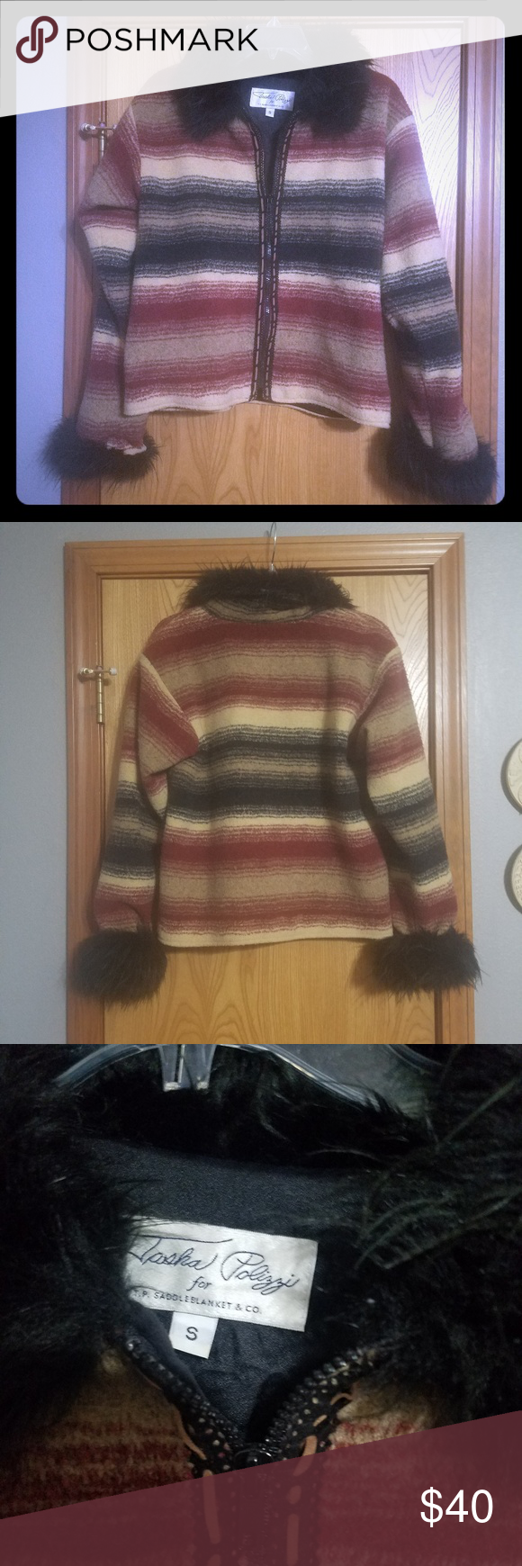 ac6fd671c0f Tasha Polizzi saddle blanket jacket Really sweet warm jacket. Beautiful black  fur collar and edge of sleeves. Tan maroon and black in color. Pit to pit  19