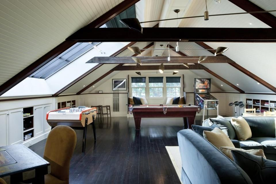 Game Rooms Grow Up The Boston Globe Attic Game Room Attic Rooms Game Room
