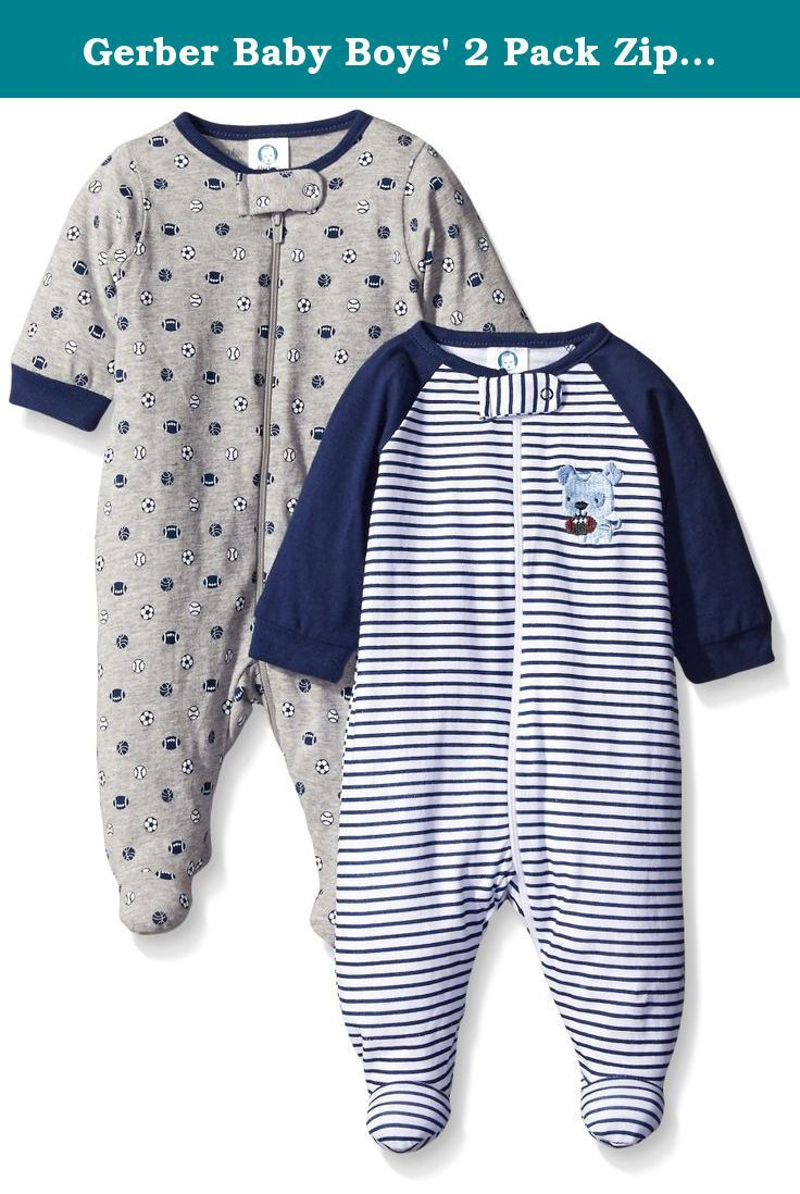 fdce5e2044a9 Gerber Baby Boys  2 Pack Zip Front Sleep  N Play